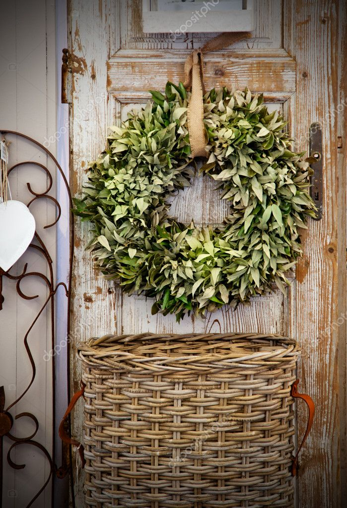 Seasonal plant decoration on home door  Stock Photo #7899873