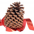 Foto Stock: Cones and red ribbon