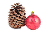 Cones and red ball — Stock Photo