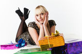The young woman with gifts — Stock Photo