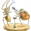 The duet of spiders blows the trumpet also to a guitar. — Stock Photo