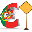 Euro with Yellow Warning Sign - Portuguese Flag Texture — Stock Photo #6777553