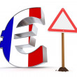 Euro with Triangular Warning Sign - Flag Texture of France — Stock Photo