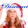 Miss Santa is Writing with a Blue Marker Pen - Discount! — Stock Photo #7854416