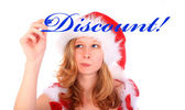 Miss Santa is Writing with a Blue Marker Pen - Discount! — Stock Photo
