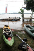 Kayaks and Mekong — Stock Photo