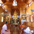 Inside wooden temple — Stock Photo
