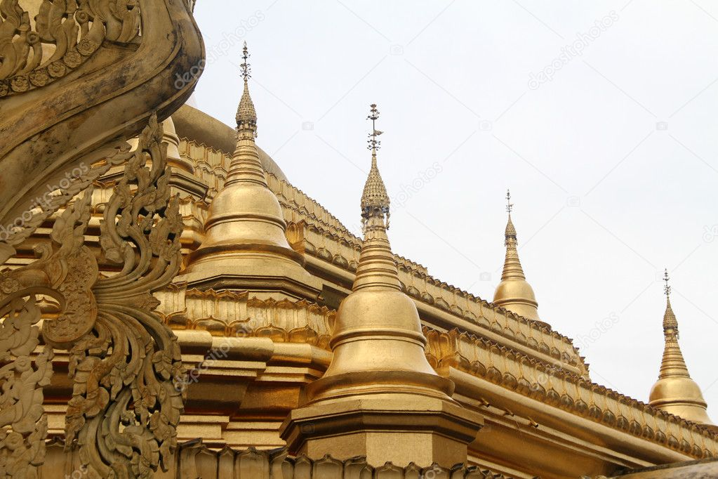 Golden stupas of Ne Vin pagoda in Yangon, Myanmar  Stock Photo #7491600