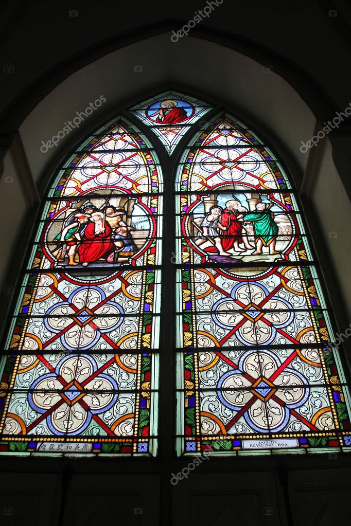 Stainglass window in Kalawar Church or Holy Rosary, Bangkok, Thailand — Stock Photo #7570280