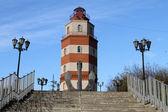 Memorial red brick light tower in Murmansk, Russia — Stock Photo