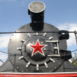Old soviet black locomotive — Stock Photo