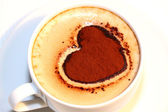 Cup of coffee with Valentine heart — Stock Photo