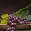 Art bunch grapes with leaves on dark background — Stock Photo