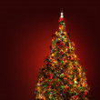 Art Christmas tree on red background — Stock Photo #6791385