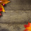 Yellow autumn leaves on background old wood — Stock Photo #6941864