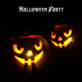 Art Glowing eyes pumpkin design Halloween party — Stock Photo