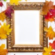 Art frame on  white background with colorful autumn leaves - Stock Photo