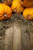 Kunst orange kürbisse auf hölzernen hintergrund — Stockfoto