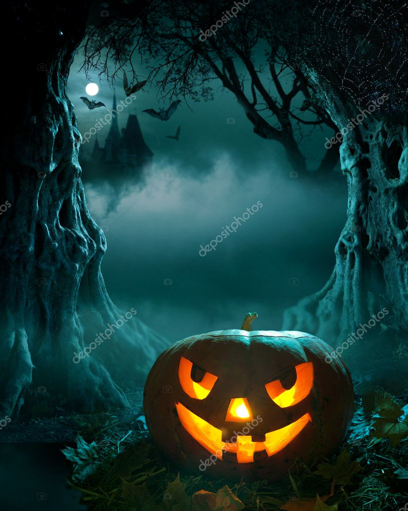 Halloween design, glowing pumpkin in a dark scary forest church — Stock Photo #7004154