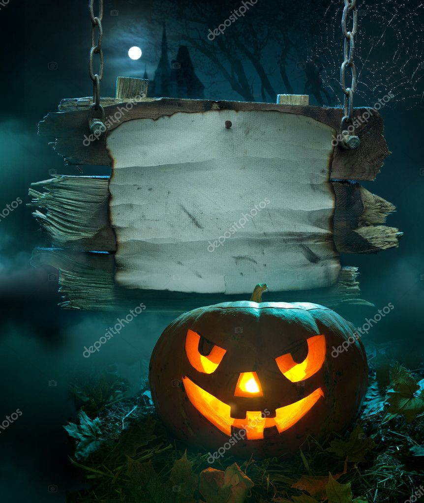 Halloween design, glowing pumpkin in a dark scary forest church — Foto de Stock   #7068276