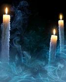 Fond d'art avec des bougies pour une fête d'halloween — Photo