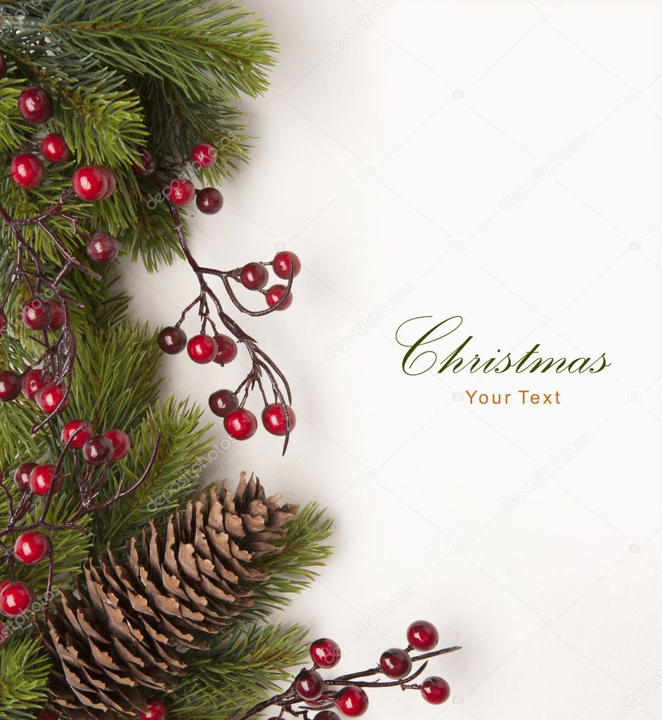 Christmas greeting card with fir branches on a white paper background — Stok fotoğraf #7369089