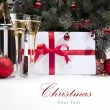 Stock Photo: Christmas greeting card with champagne