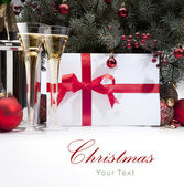 Christmas greeting card with champagne — Stock Photo