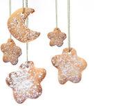 Design a Christmas greeting with homemade Christmas candy — Stock Photo