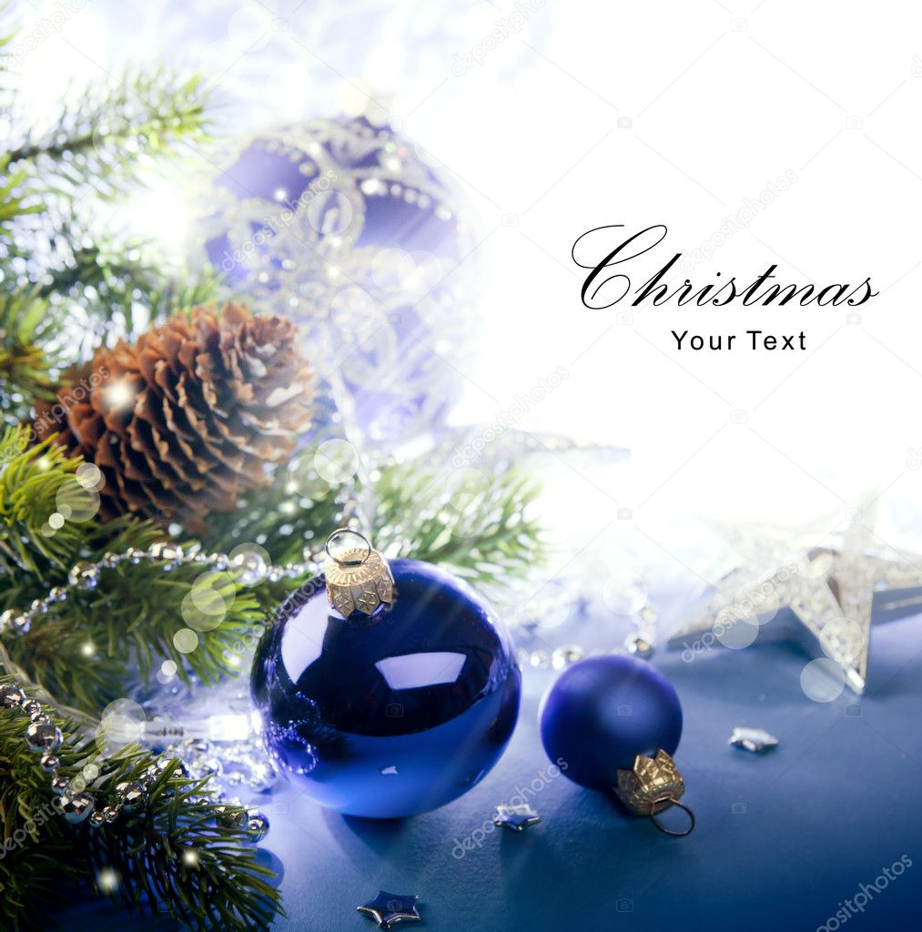 Art Christmas greeting Card with the Christmas tree and Christmas decorations on a blue background — Stock Photo #7525868