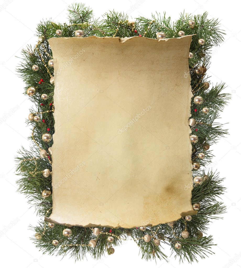 Vintage paper to decorate a Christmas greeting with a garland spruce isolated on white background — Stock Photo #7526842
