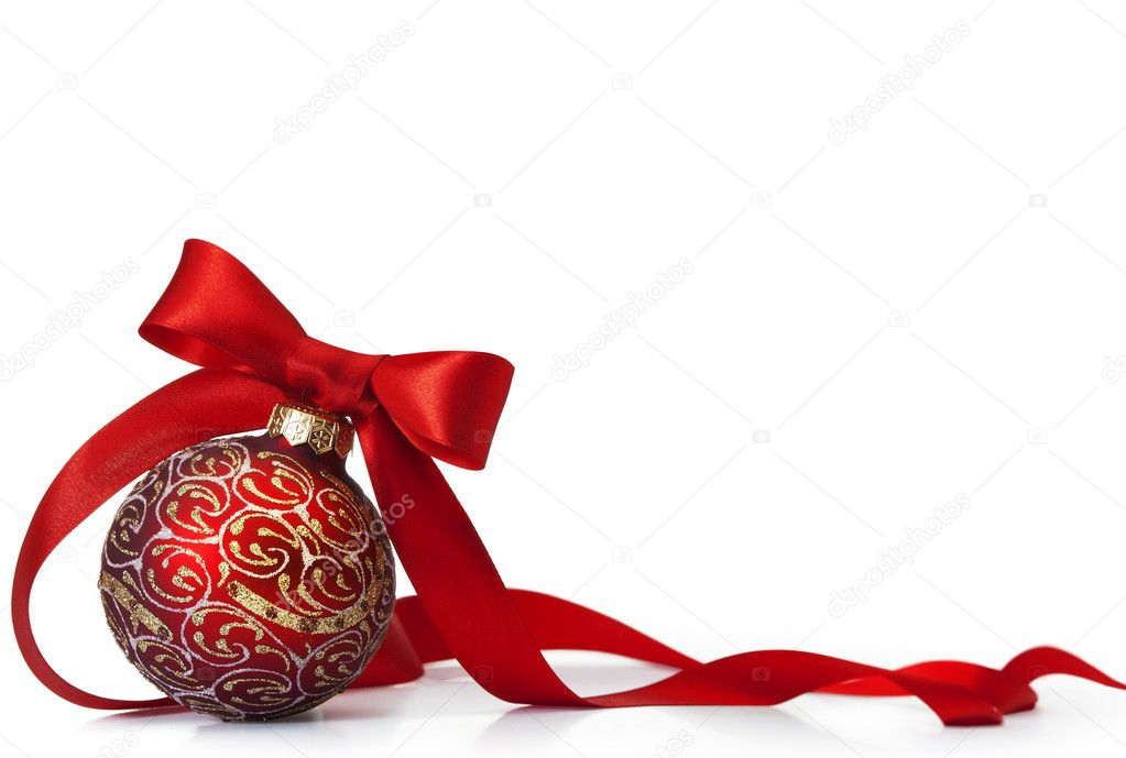 Red Christmas ball on a glossy surface — Stock Photo #7527251