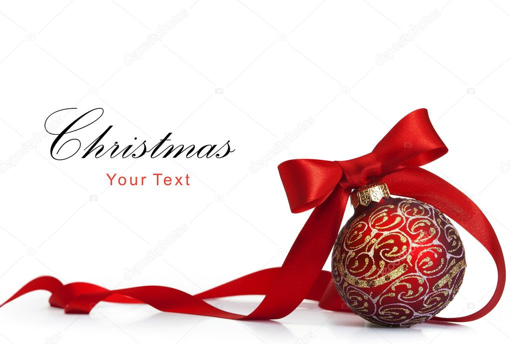 Red Christmas ball on a glossy surface — Stock Photo #7527255