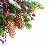 Umění vánoční strom chráněné sníh — Stock fotografie