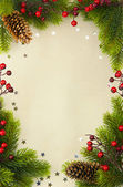 Christmas vintage frame with fir and Holly berry on old paper background — Stock Photo