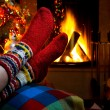 Stock Photo: Romantic winter evening by fireplace Christmas and Christmas tree