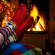 Romantic winter evening by the fireplace Christmas and Christmas tree — ストック写真