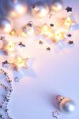 Design Christmas greeting card with silver christmas balls and Christmas li — Stockfoto