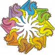 Rainbow of Dragons — Stock Vector