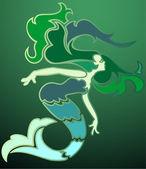 Mermaid in the Emerald Sea — Stock Vector