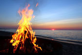 Lake Superior Beach Campfire — Stock Photo