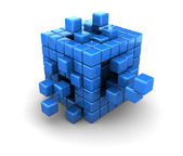 Blue cubes construction — Stock Photo