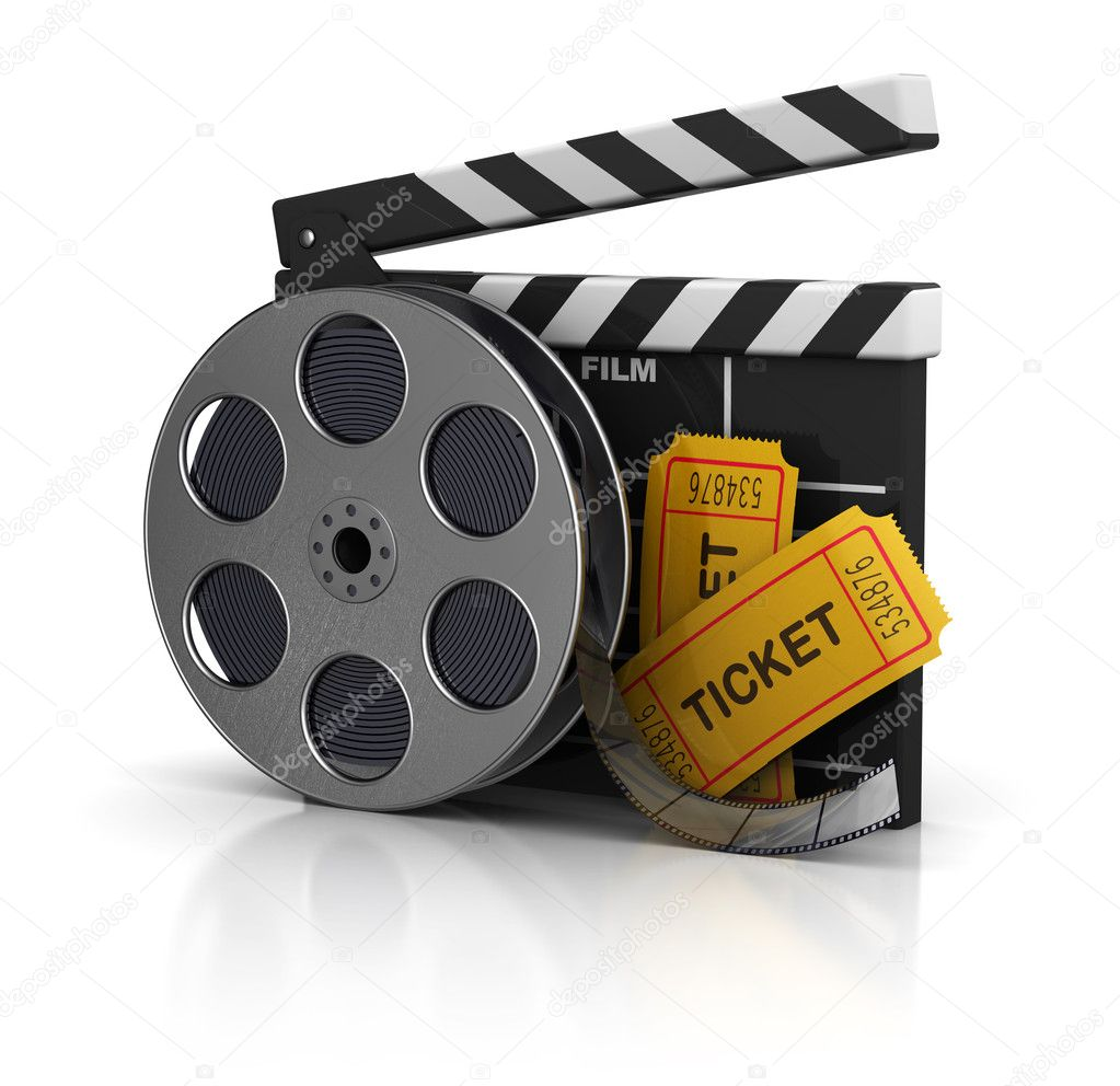 3d illustration of cinema clap, film reel and tickets, over white background — Stock Photo #7397852
