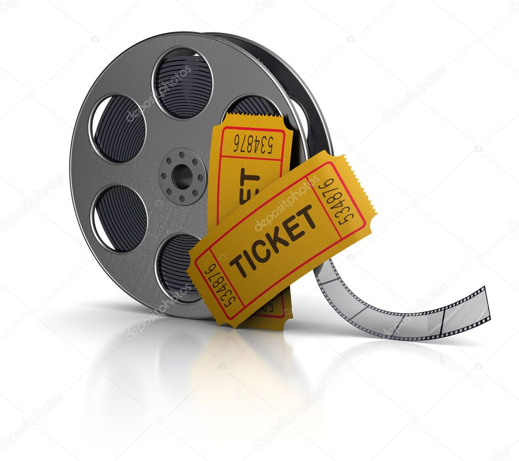 3d illustration of movie film reel and tickets — Stock Photo #7397893
