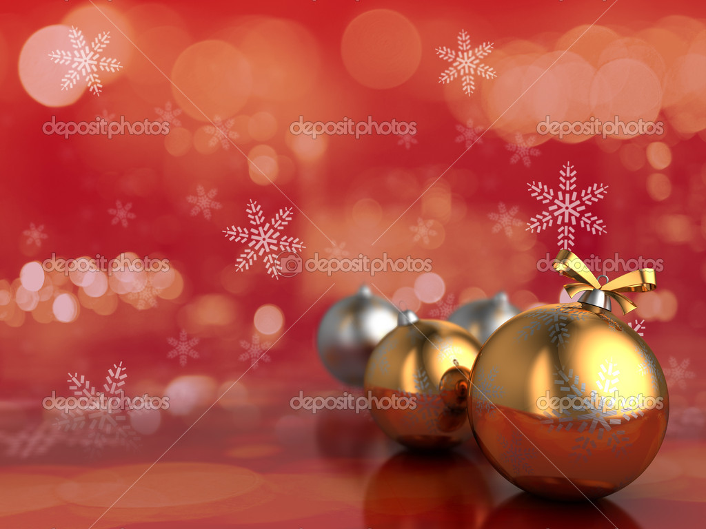 3d illustration of christmas backgorund with balls, red colors — Stock Photo #7691328