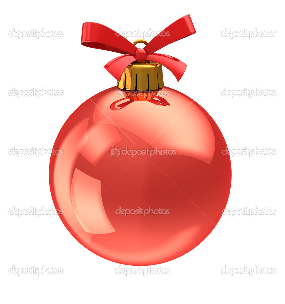 3d illustration of christmas ball,with red ribbon. isolated over white background — Stock Photo #7803099