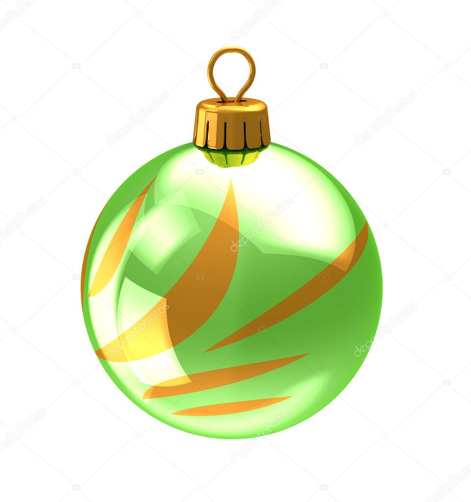 3d illustration of christmas ball,green color,with golden abstract ornament. isolated over white background — Stock Photo #7803105