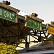 Stock Photo: Signs at Toll Booth