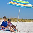 Stock Photo: Two Elderly Women at Beach