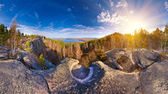 Autumn rocks panorama — Stock Photo